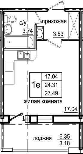 Студия, 27.49 м²– 2