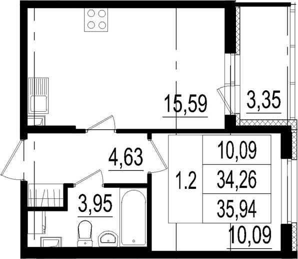 2Е-комнатная, 34.26 м²– 2