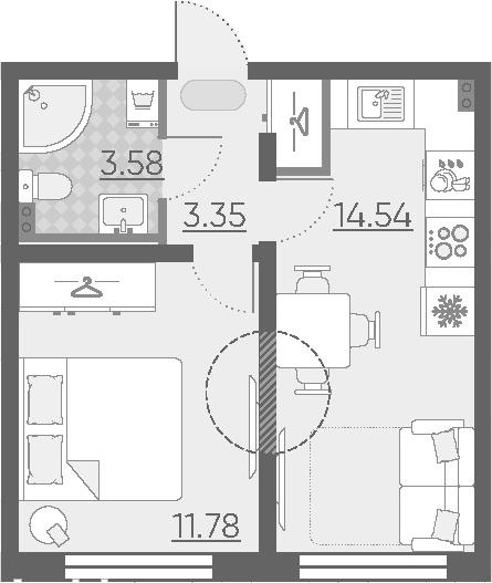 1-к.кв, 33.25 м²