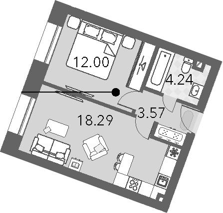 2Е-к.кв, 38.1 м², 2 этаж