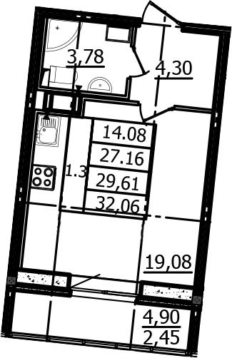 Студия, 27.16 м²– 2