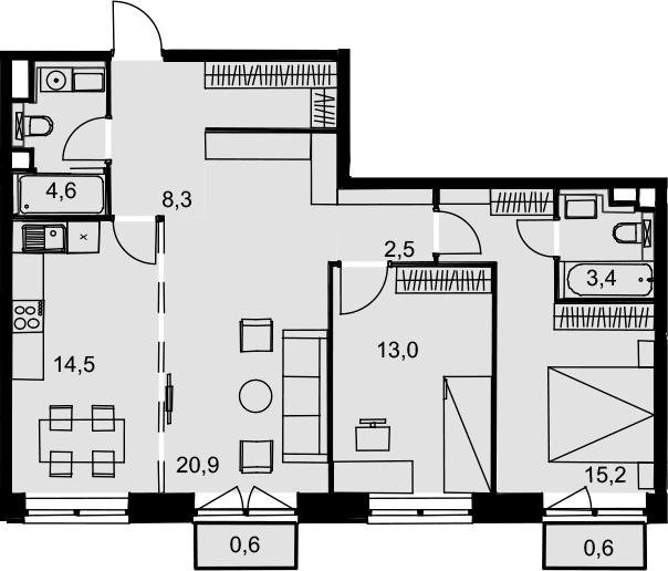 3-к.кв, 83.6 м²