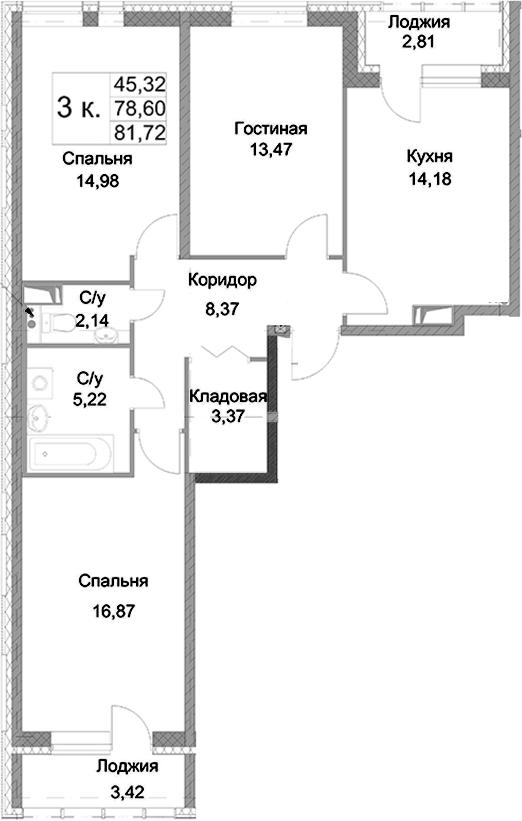 3-к.кв, 84.83 м²
