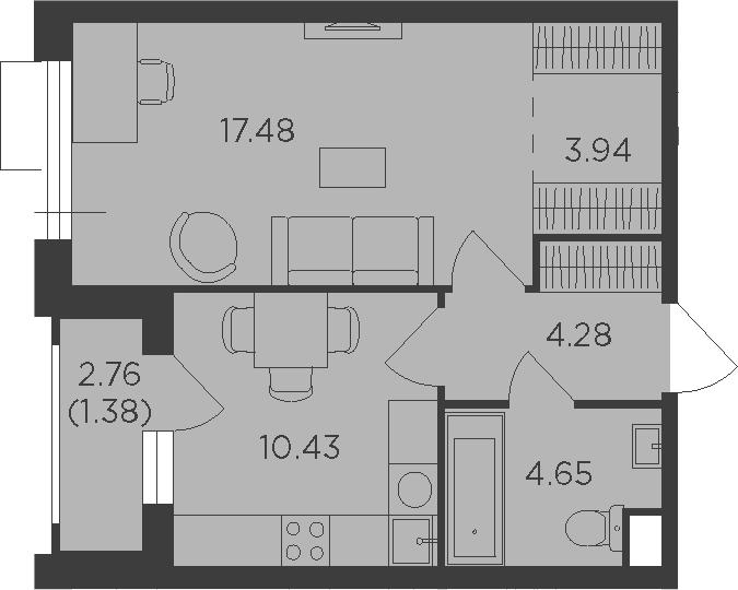 1-к.кв, 43.54 м²