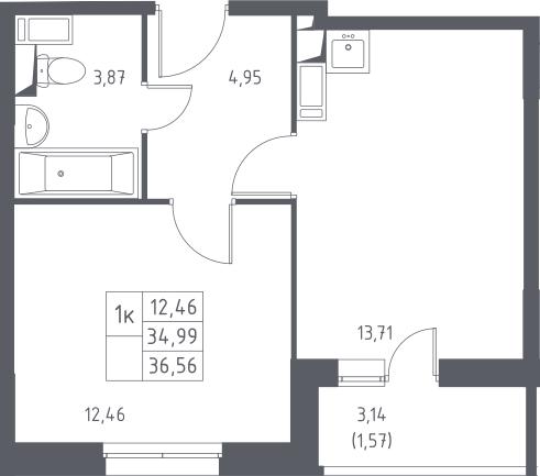 1-к.кв, 36.56 м², 3 этаж