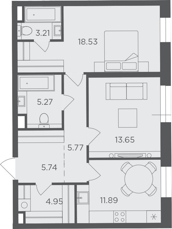2-к.кв, 69.01 м², 10 этаж