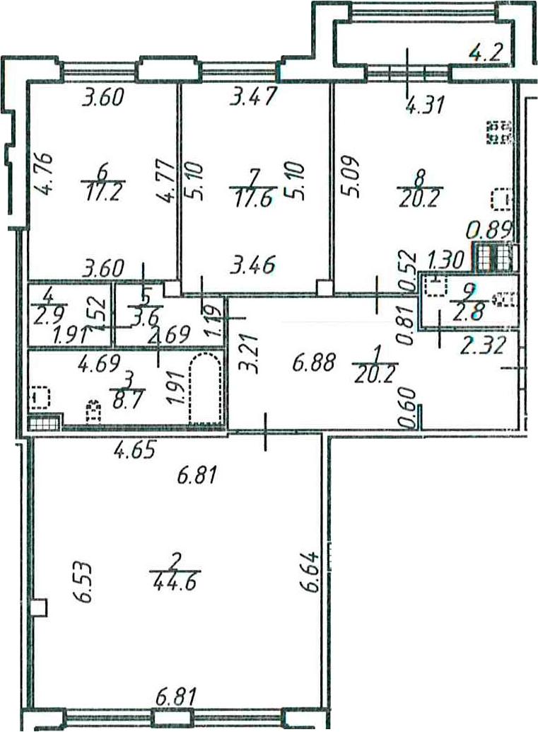 3-к.кв, 142 м²