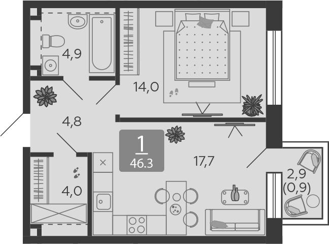 2Е-к.кв, 46.3 м², 2 этаж