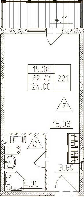 Студия, 26.88 м²