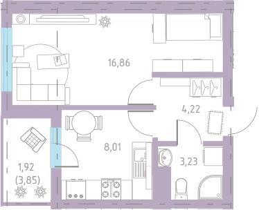 1-к.кв, 35.92 м²