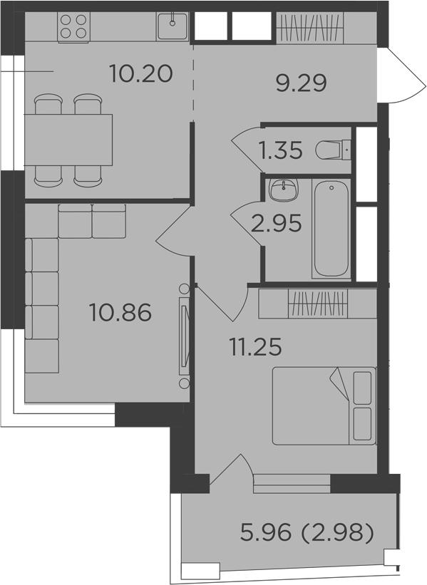 2-к.кв, 48.88 м², 20 этаж