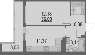 1-комнатная, 36.09 м²– 2