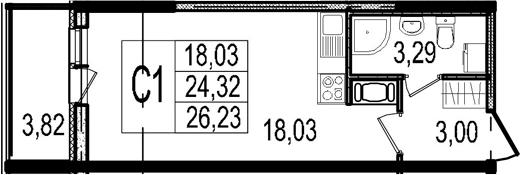 Студия, 24.32 м²