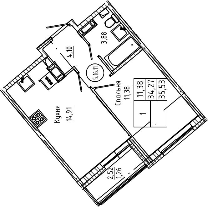 1-к.кв, 35.53 м², от 4 этажа