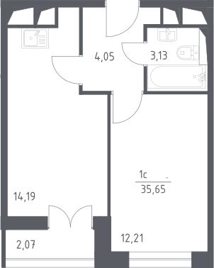 2Е-к.кв, 35.65 м², от 19 этажа