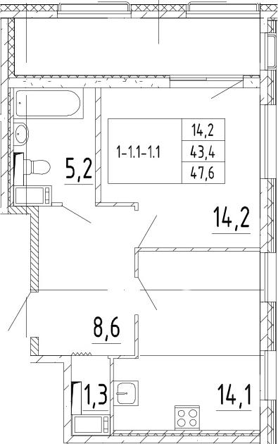 1-комнатная, 47.6 м²– 2