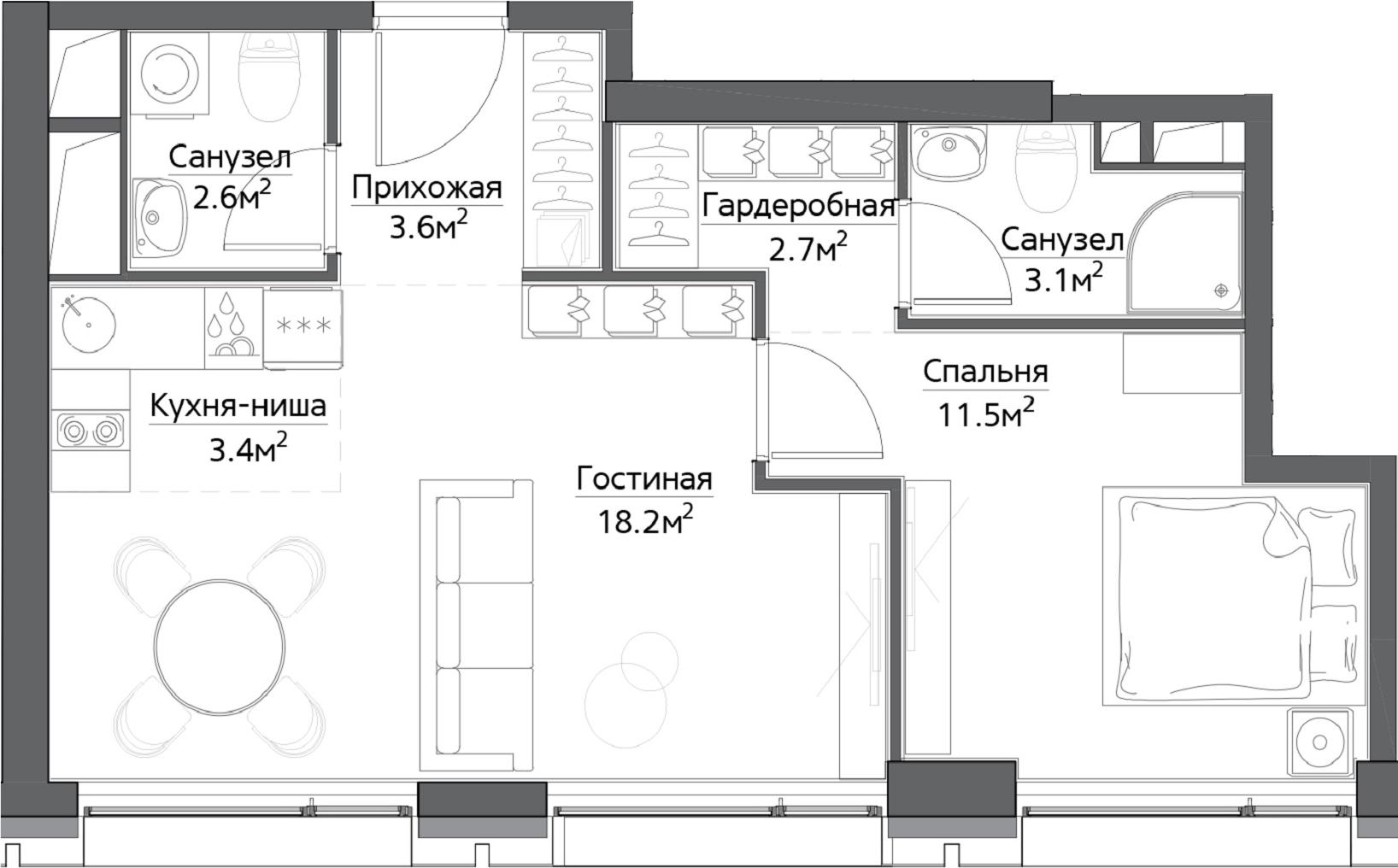 2-к.кв (евро), 45.1 м²