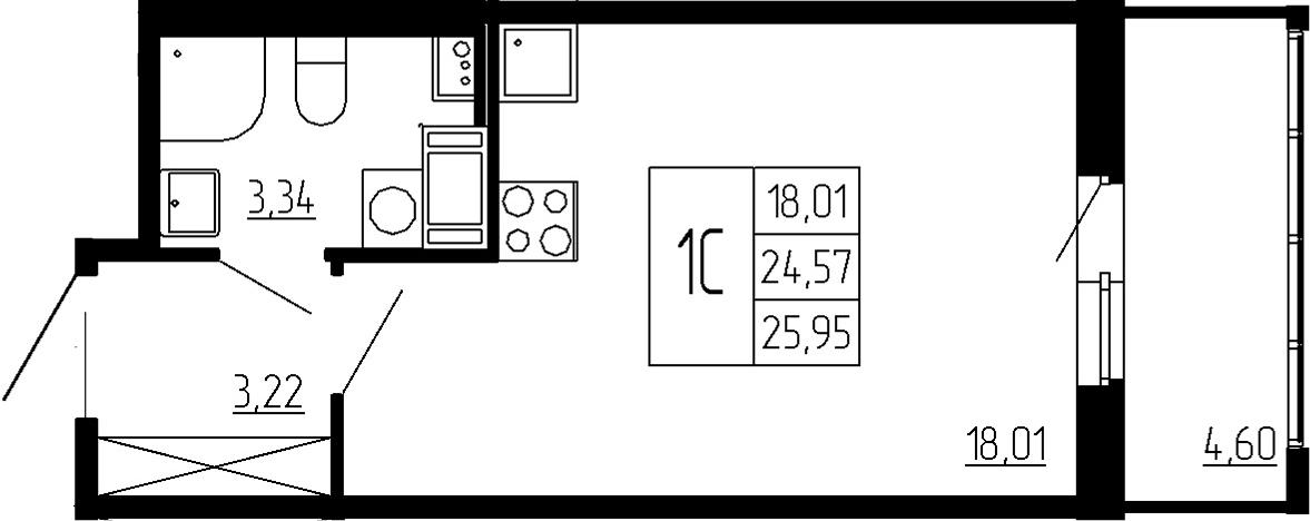 Студия, 24.57 м², 2 этаж