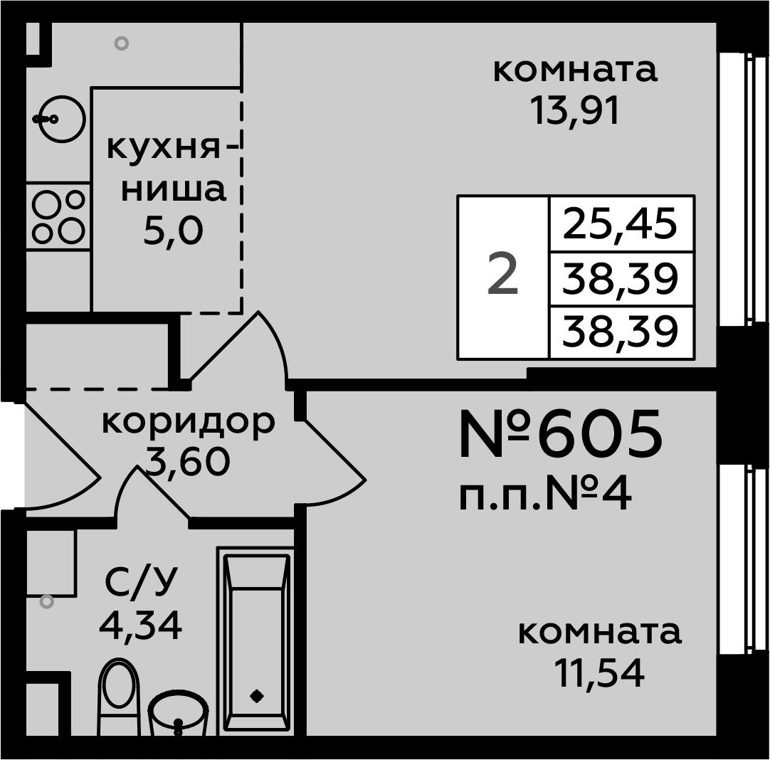 2-к.кв (евро), 38.39 м²
