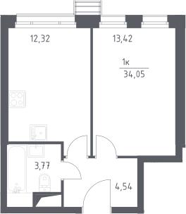 1-к.кв, 34.05 м²
