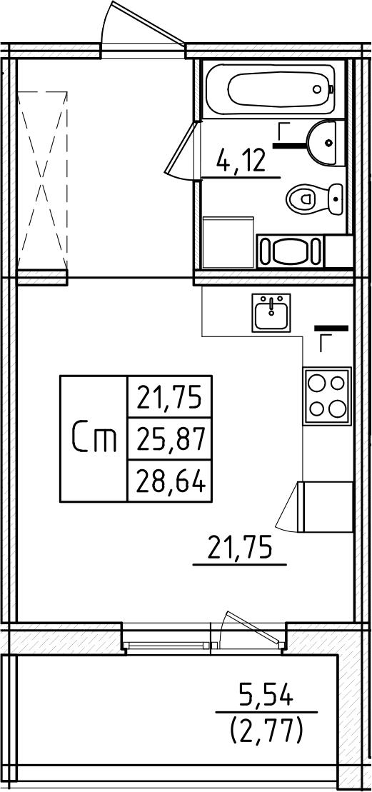 Студия, 28.64 м²– 2