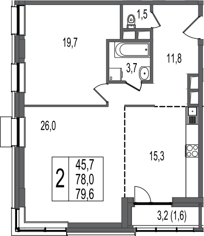 2-к.кв, 79.6 м²