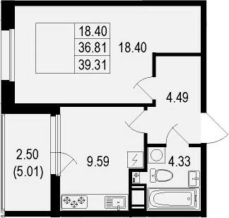 1-к.кв, 39.31 м²