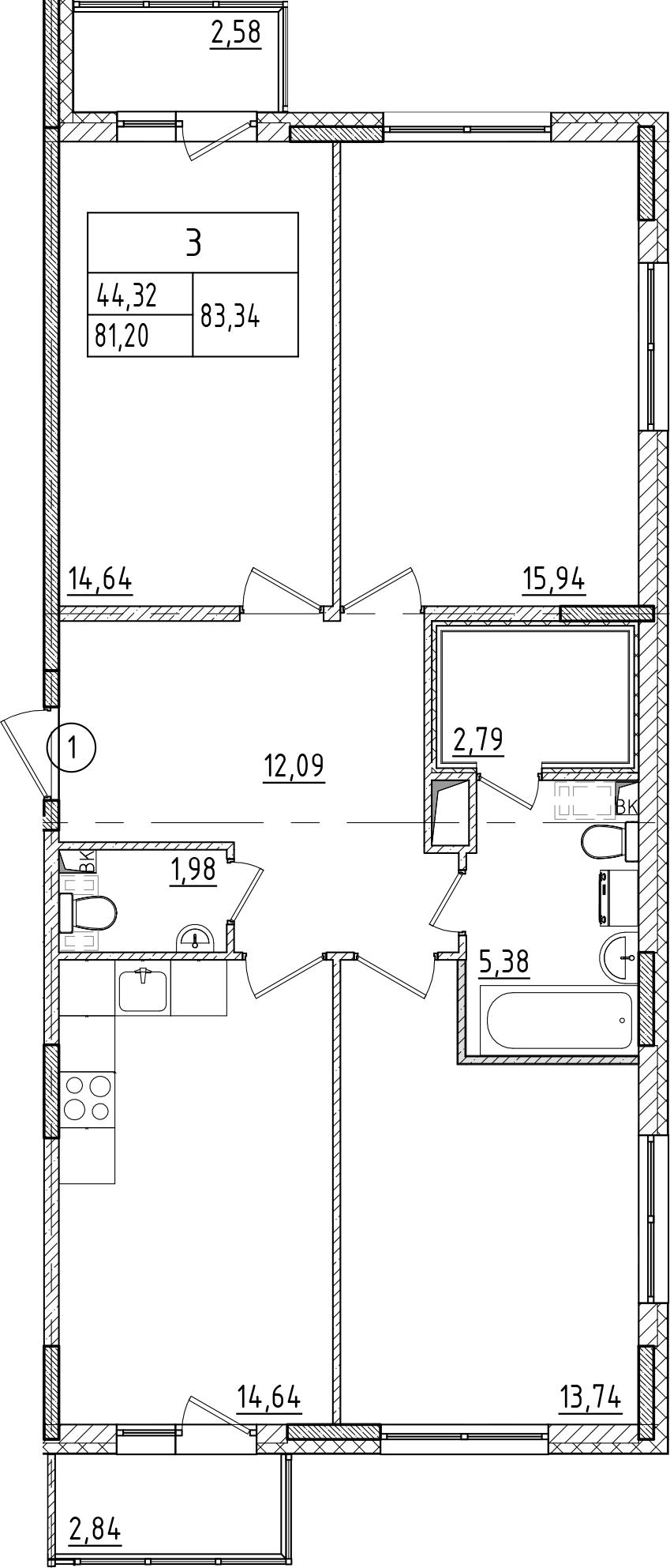 3-к.кв, 86.62 м²