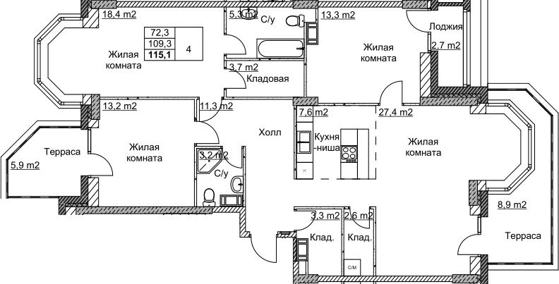 4Е-комнатная, 115.1 м²– 2