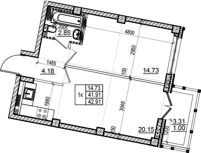 2Е-комнатная, 42.91 м²– 2