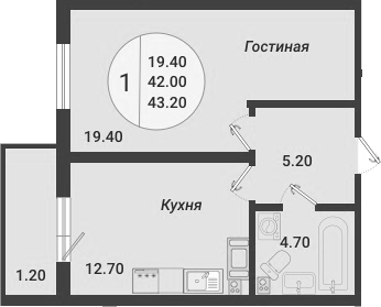 1-к.кв, 43.2 м²