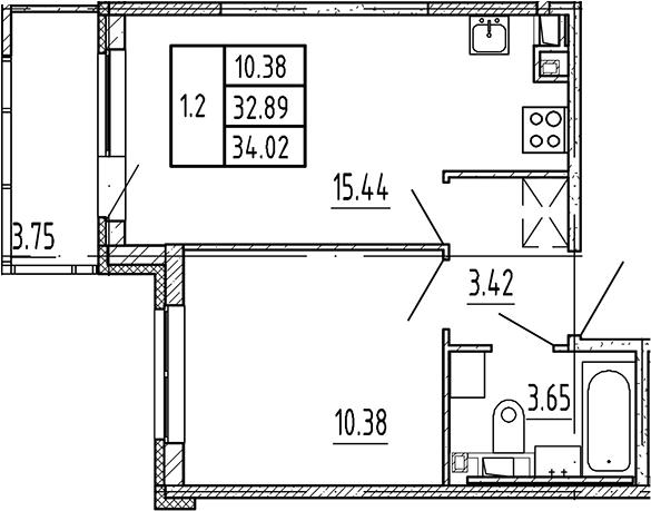 2Е-к.кв, 32.89 м², 4 этаж