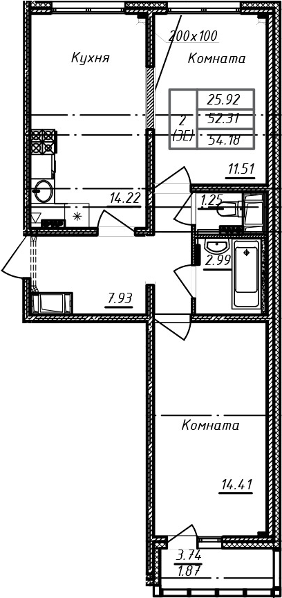 3Е-к.кв, 54.18 м²