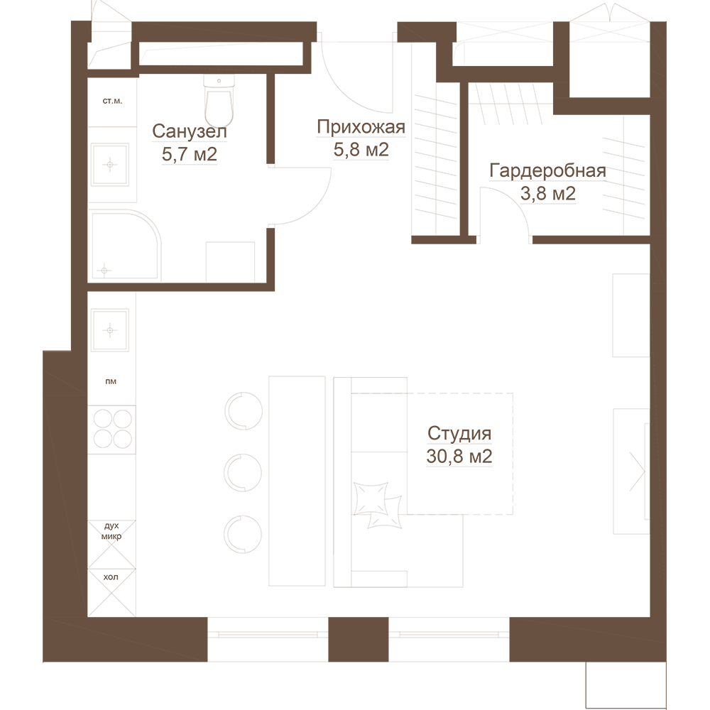 Студия, 47.3 м²