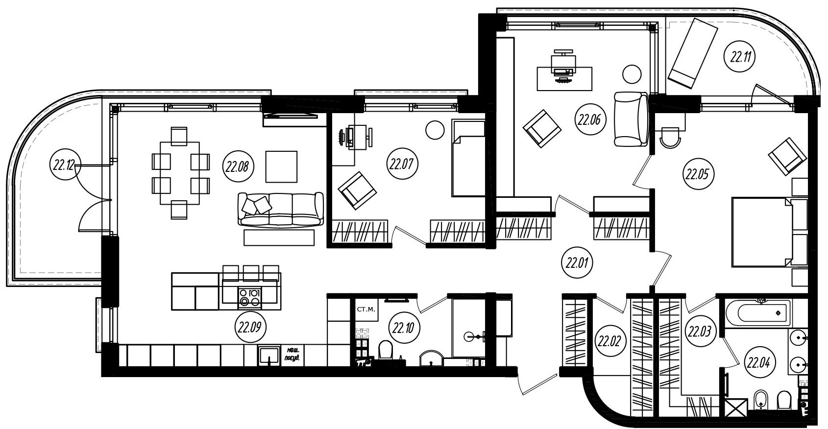 4Е-комнатная, 127.5 м²– 2