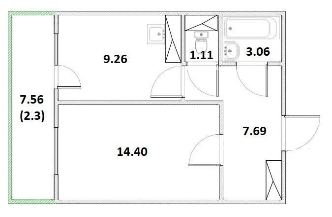 1-комнатная, 37.79 м²– 2