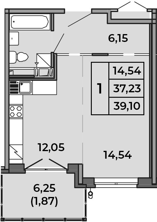 Студия, 39.1 м²– 2