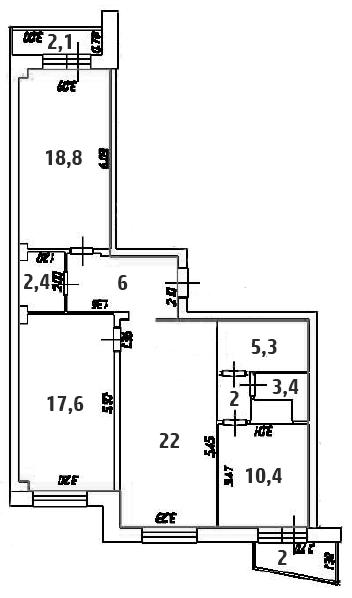 3-к.кв, 89.55 м²