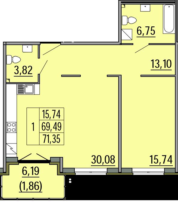 2Е-комнатная, 71.35 м²– 2