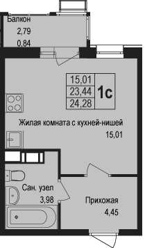 Студия, 24.28 м²– 2