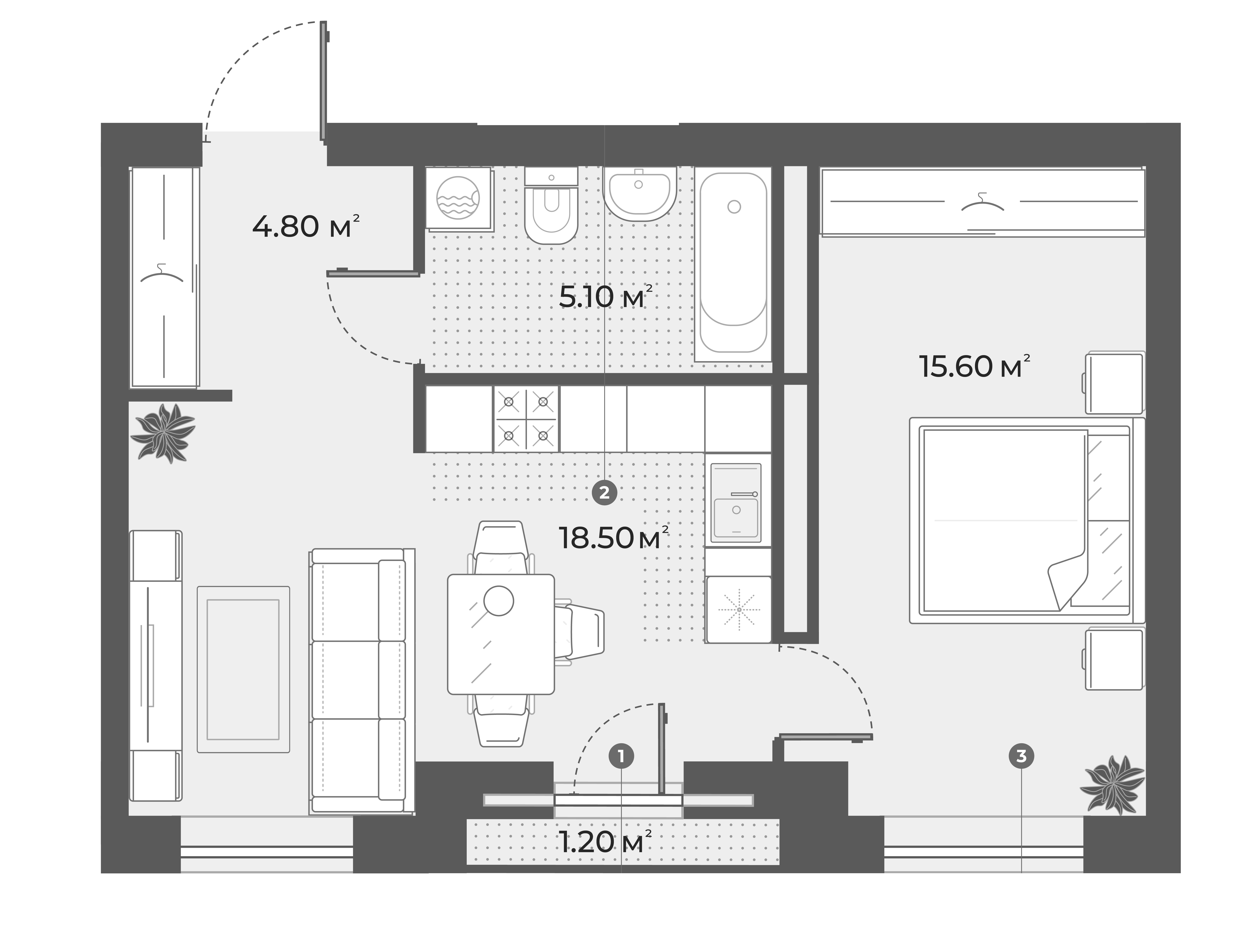 2Е-к.кв, 44 м², 4 этаж