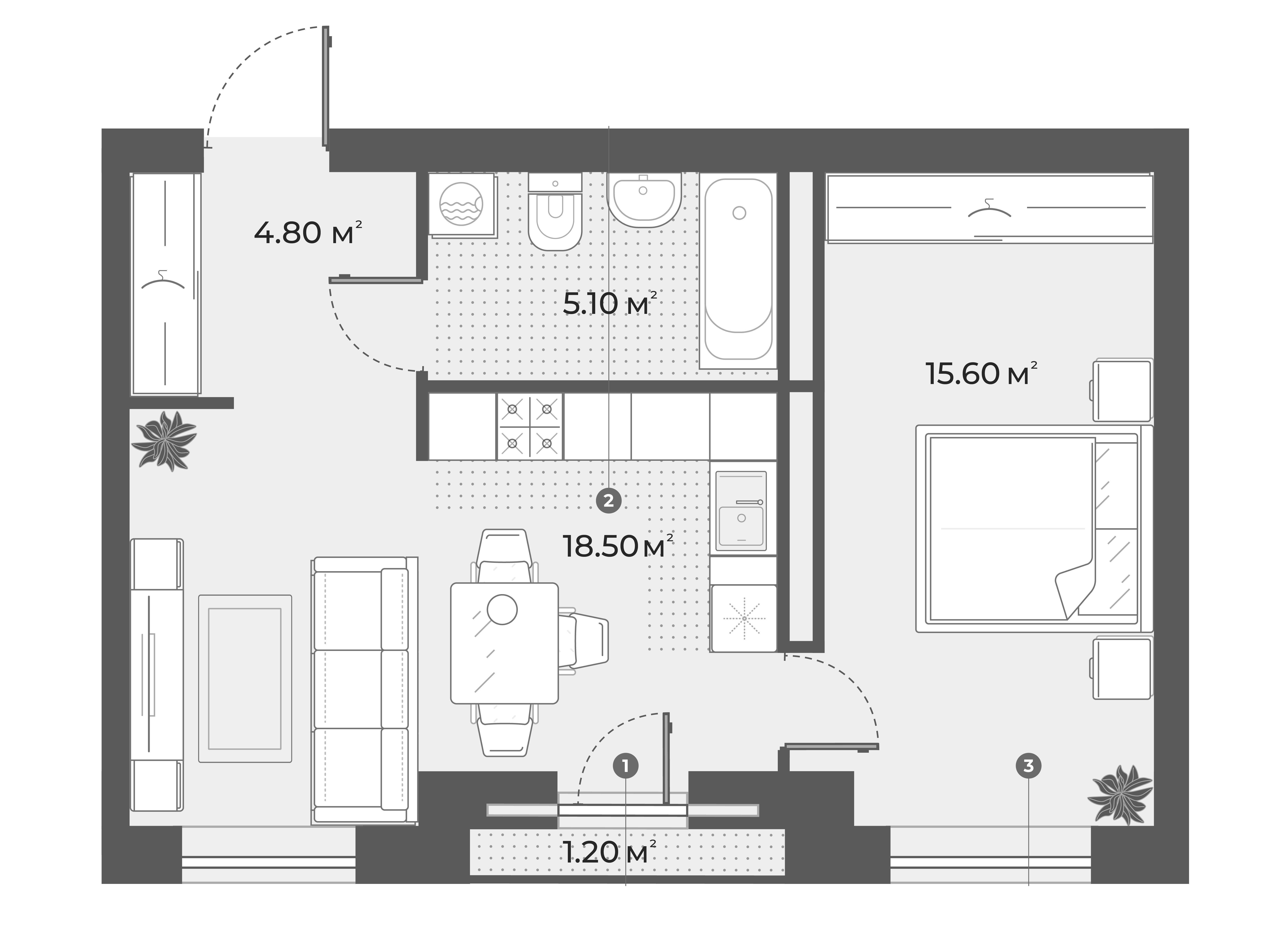 2Е-к.кв, 44 м², 2 этаж
