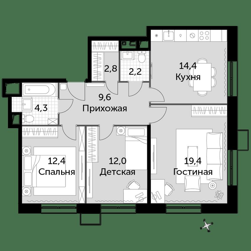 3-комнатная, 77.1 м²– 2