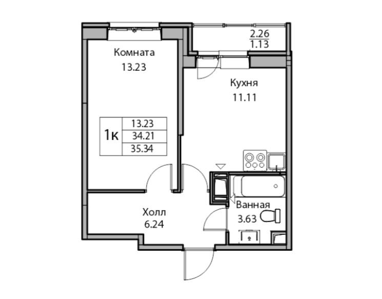 1-комнатная, 34.21 м²– 2