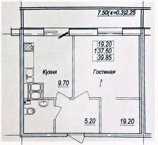 1-к.кв, 36.35 м²