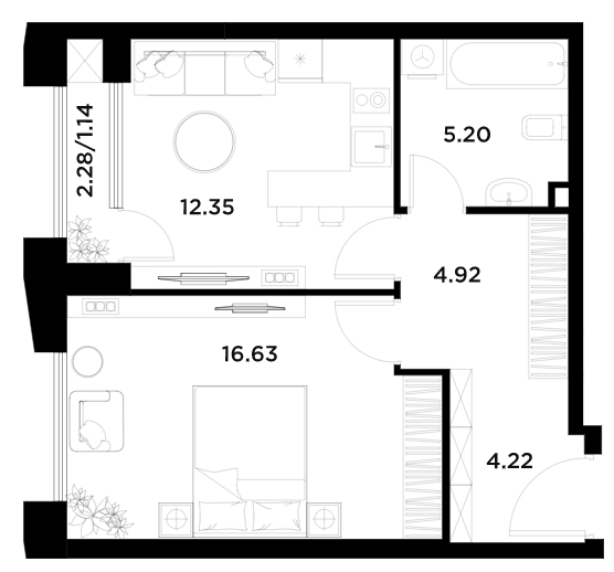 1-к.кв, 44.46 м²