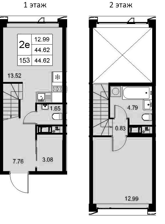2-к.кв (евро), 44.62 м²