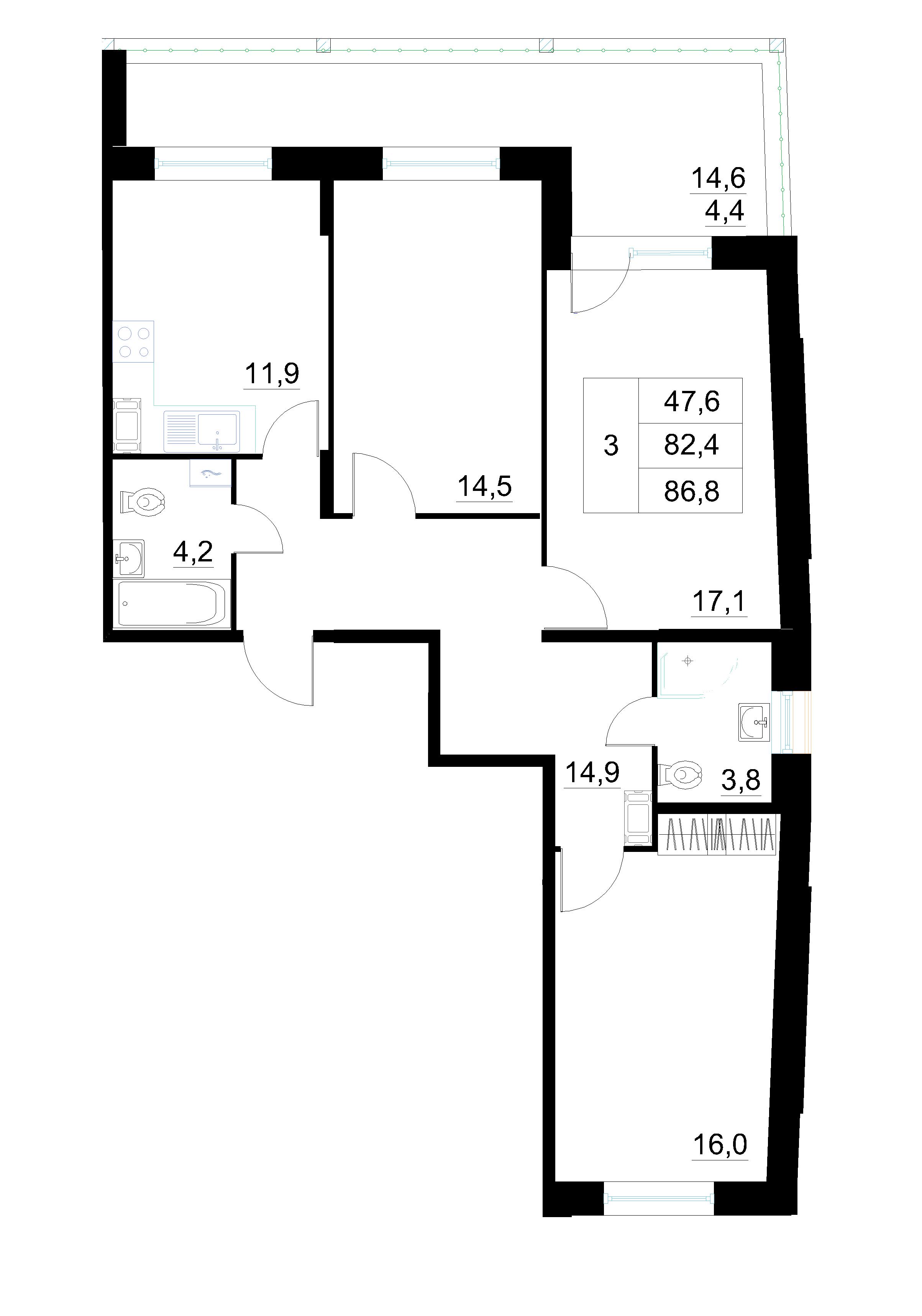 3-комнатная, 86.8 м²– 2