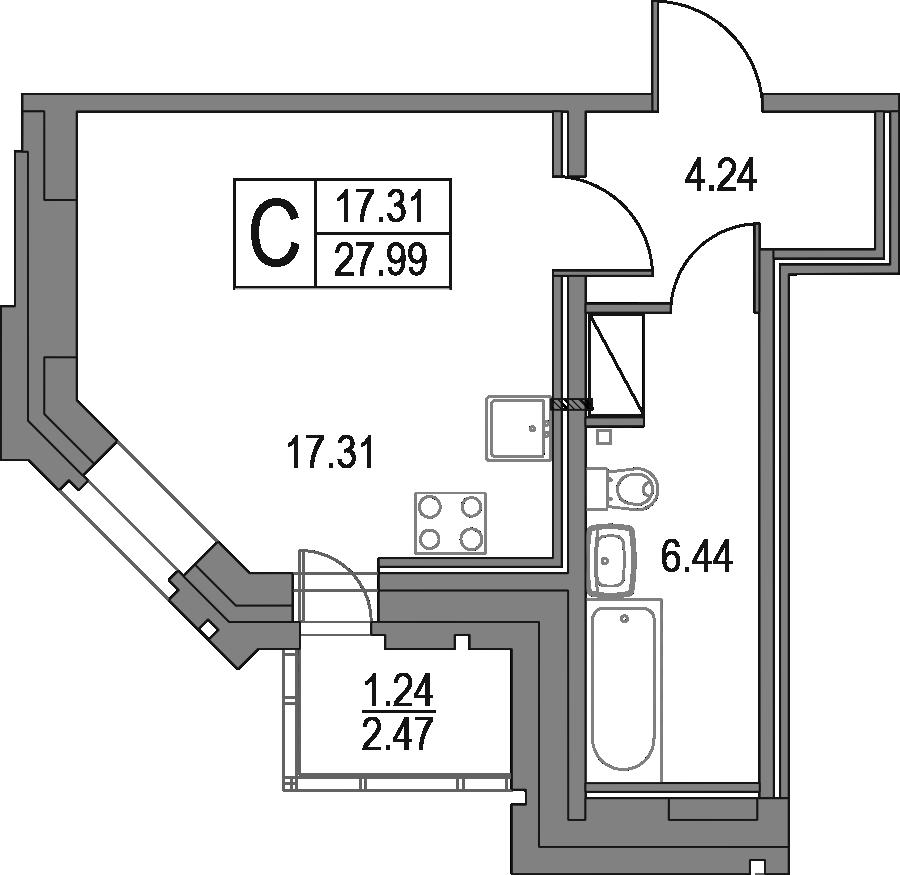 Студия, 27.99 м², 23 этаж