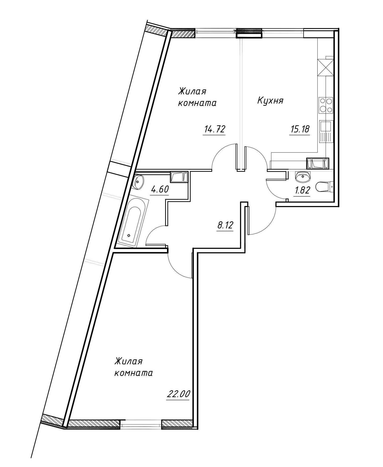 3-к.кв (евро), 65.58 м²